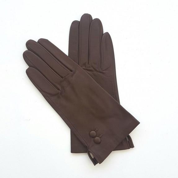 """Gants en cuir d'agneau chocolat """"CLEMENTINE""""."""