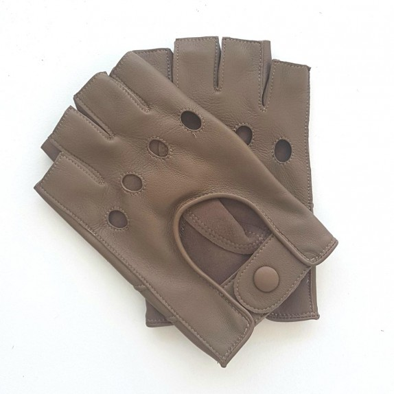 "Leather mittens of lamb clay ""PILOTE"""