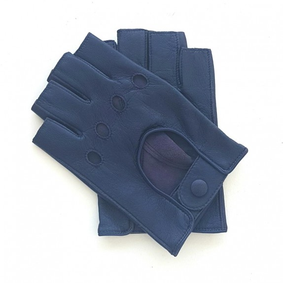 "Leather mittens of lamb blue berry ""PILOTE"""