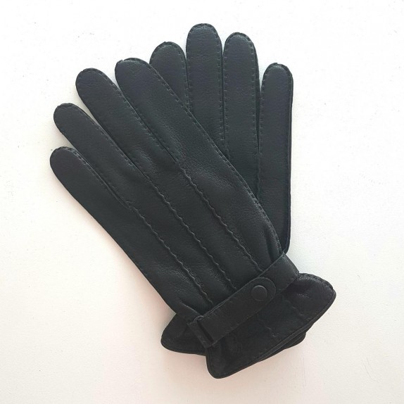 "Leather gloves of deer black ""EMILIEN"""