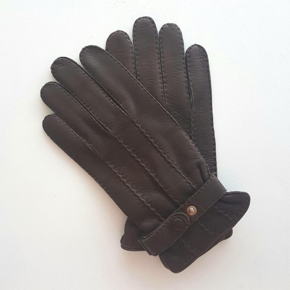 "Leather gloves of deer brown ""EMILIEN"""
