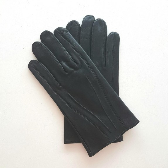 """Leather gloves of lamb black """"STEEVE""""."""