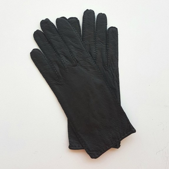 "Leather gloves of ostrich and pecarry black ""MARIE- ANTOINETTE"""