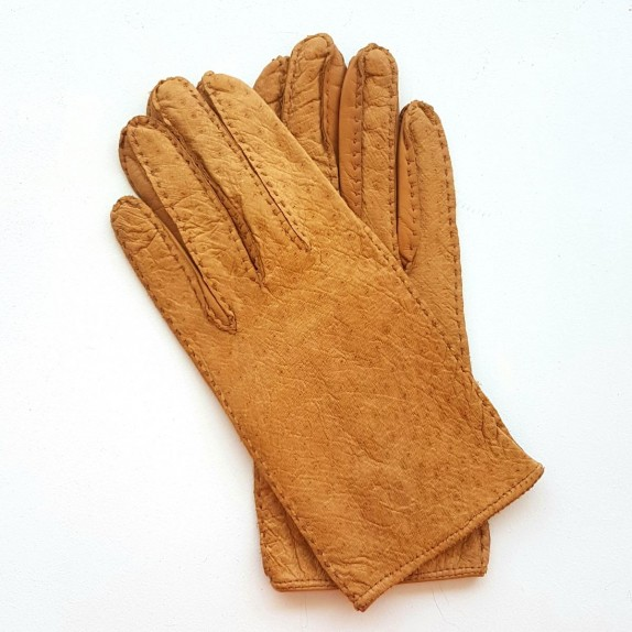 "Leather gloves of ostrich and lamb cork ""ANGELLA"