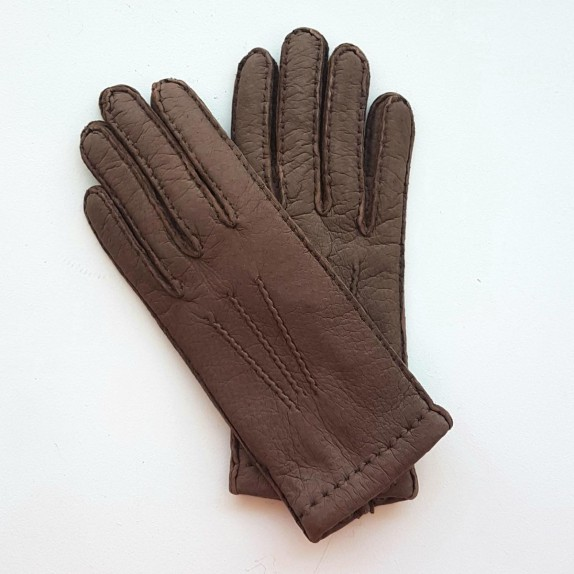 """Leather gloves of pecarry brown """"LEONIE""""."""