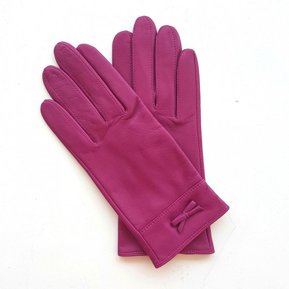 "Leather gloves of lambhot pink ""ANEMONE"""