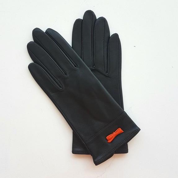 """Gants en cuir d'agneau noir et orange """"ANEMONE""""."""