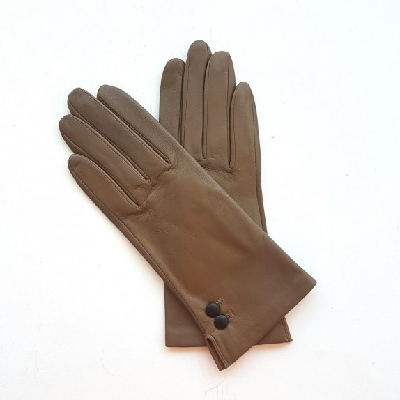 "Leather gloves of lamb sand and black ""CLEMENTINE""."