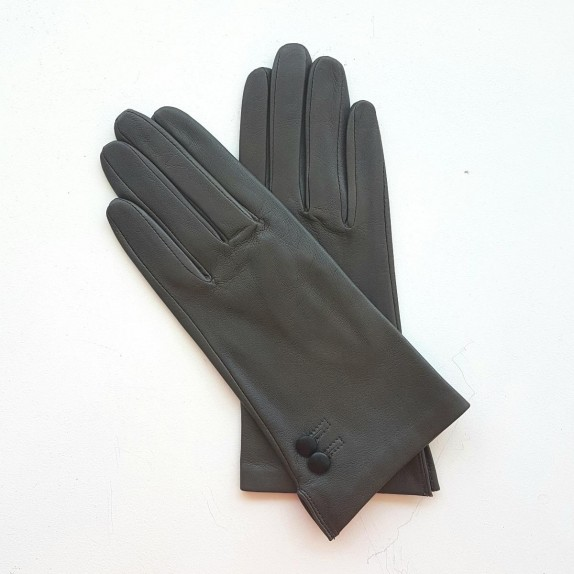 "Leather gloves of lamb grey and black ""CLEMENTINE""."
