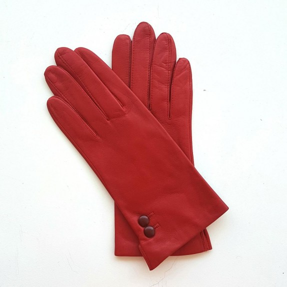 "Leather gloves of lamb red and burgundy""CLEMENTINE"""