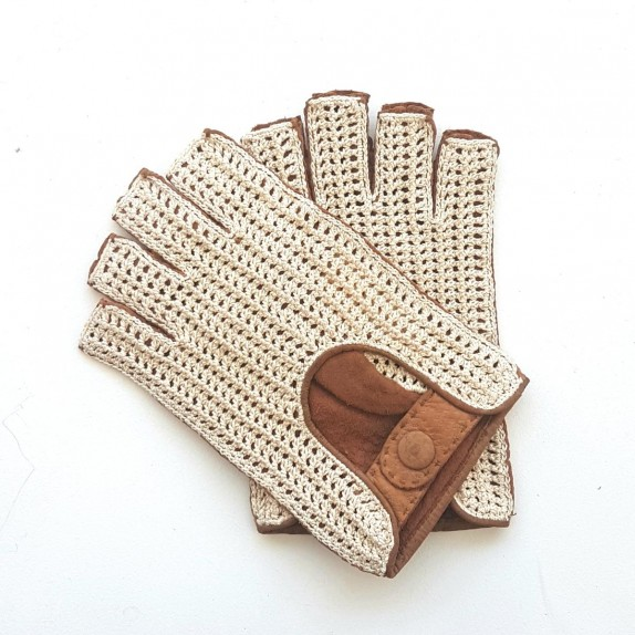 "Leather mittens of Pecary and cotton hook cork, beige ""EDOUARD"""
