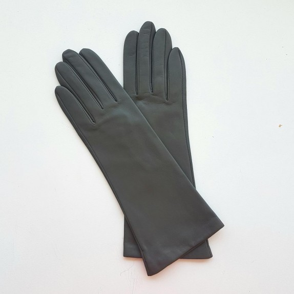 """Leather gloves of lamb grey """"GISELLE""""."""