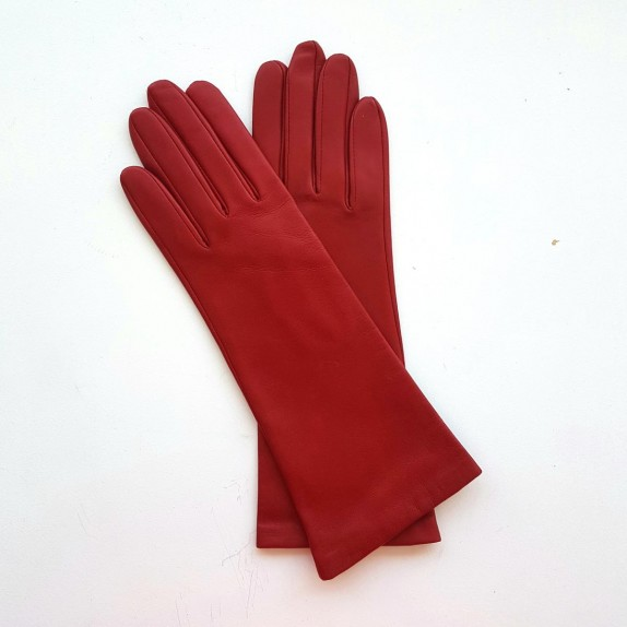 """Leather gloves of lamb red """"GISELLE""""."""