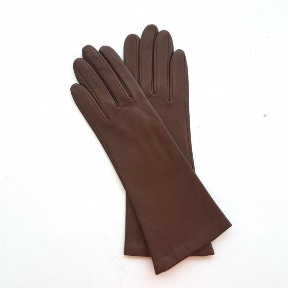 "Leather gloves of lamb havana ""GISELLE""."