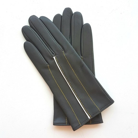 "Leather gloves of lamb grey yelow and white ""CHRISTINE""."