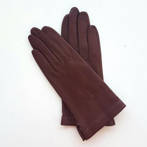 """Gants en cuir  d'agneau chocolat """"THERESE""""."""