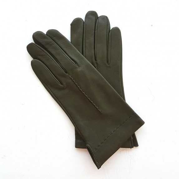 """Leather gloves of lamb khaki """"THERESE""""."""