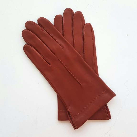 """Leather gloves of lamb rust """"THERESE""""."""