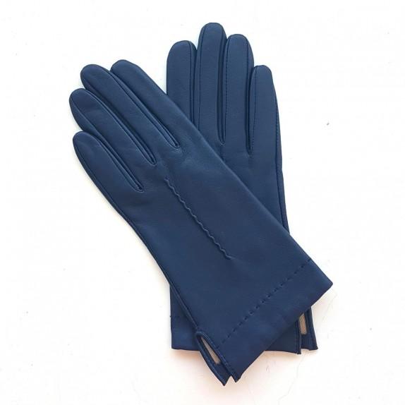 "Leather gloves of lamb indigo ""THERESE""."