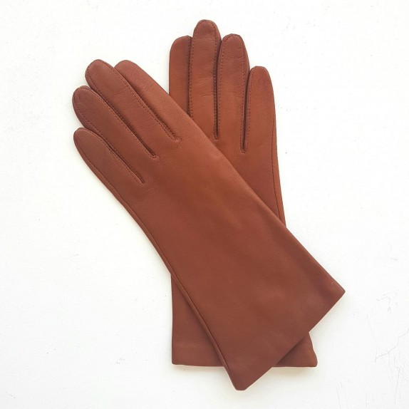 """Leather gloves of lamb cognac """"ADELINE""""."""