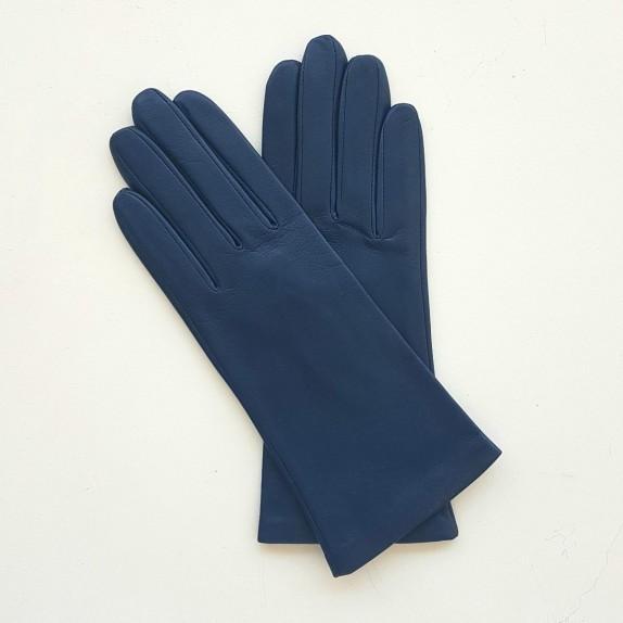 """Leather gloves of lamb indigo """"ADELINE""""."""