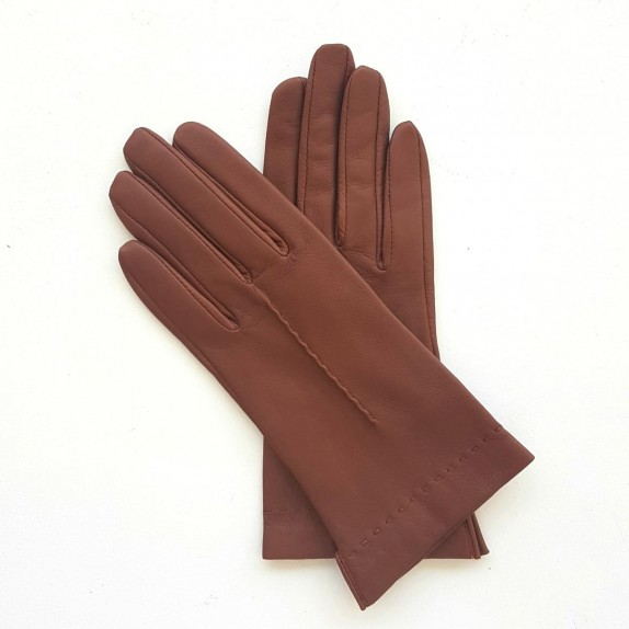 """Leather gloves of lamb cognac """"THERESE""""."""