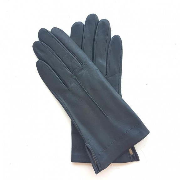 "Leather gloves of lamb grey ""THERESE""."