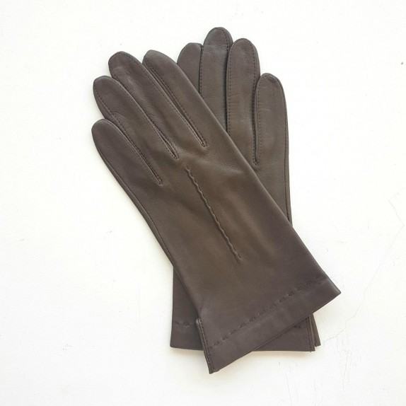 """Leather gloves of lamb taupe """"THERESE""""."""
