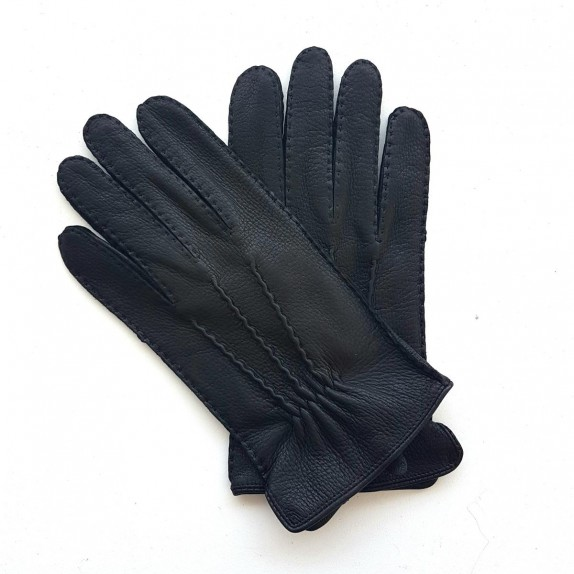 """Leather gloves of deer black """" MARC """""""