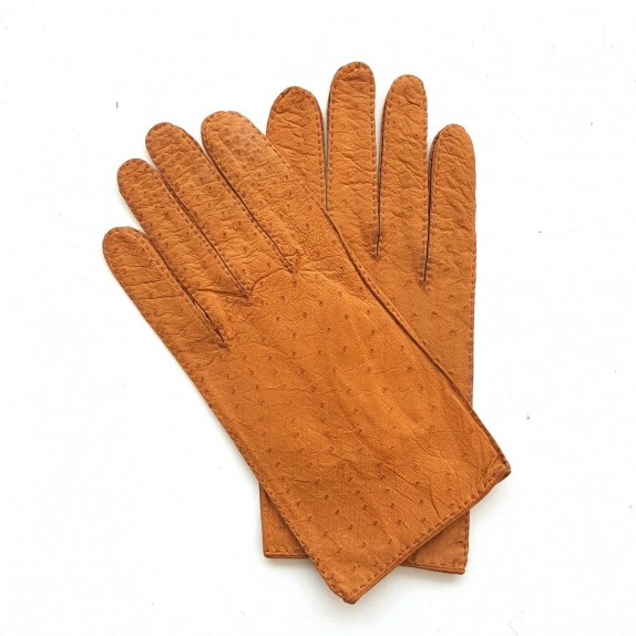 "Leather gloves of ostrich and lamb cork ""ANGE"""