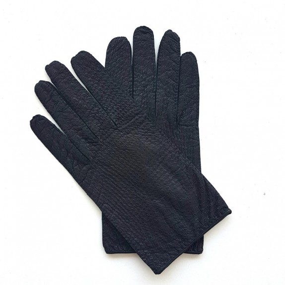 "Leather gloves of ostrich and lamb black ""ANGE"""