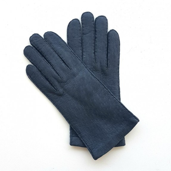 "Leather Gloves of lamb blue ""ANNIE""."