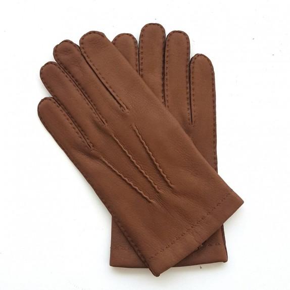 """Gants en cuir de cerf chocolat """"COWAL""""."""