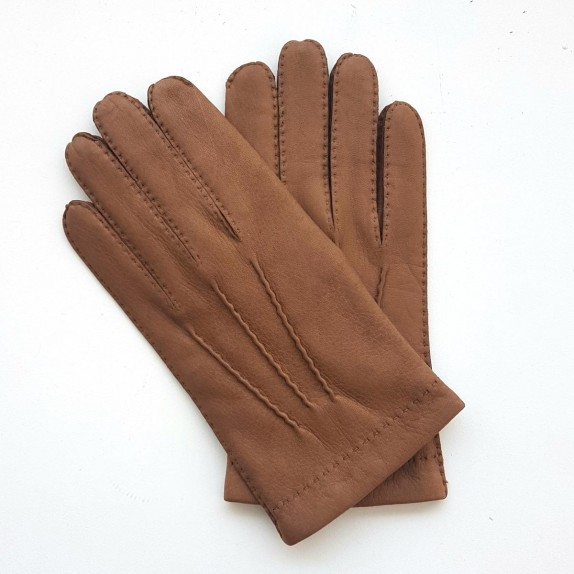 "Leather gloves of deer camel ""COWAL""."