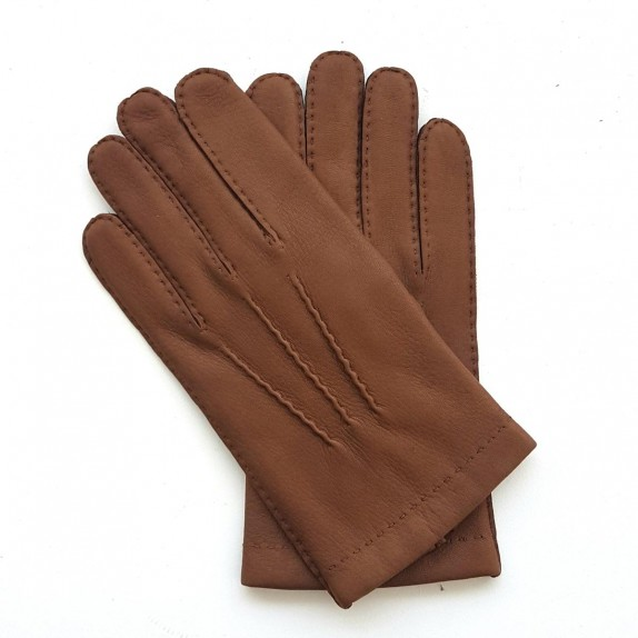 "Leather gloves of deer chocolate ""COWAL""."