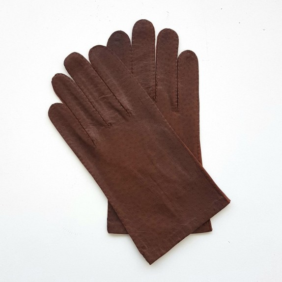 "Leather gloves of ostrich and lamb chocolate ""ANGE"""
