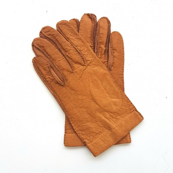 "Leather gloves of ostrich and peccary cork ""ANGUS"""