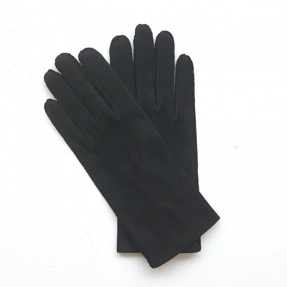 "Leather gloves in goat velvet black ""CAPRA""."