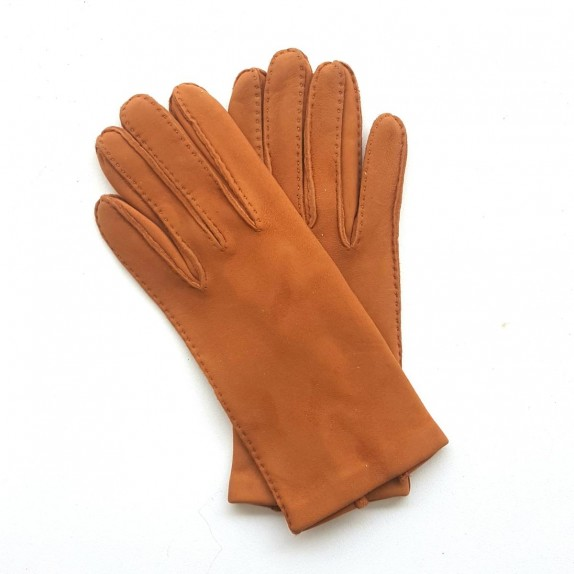 "Leather gloves in goat velvet camel ""CAPRA""."