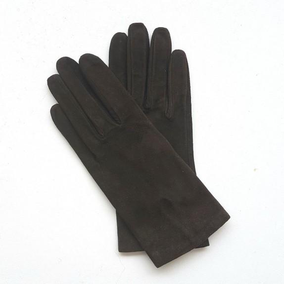 "Leather gloves in goat velvet brown ""CAPUCINE BIS""."