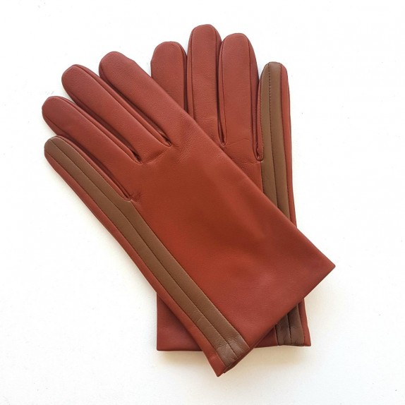 "Leather gloves of lamb cognac and biscuit ""AKANO""."