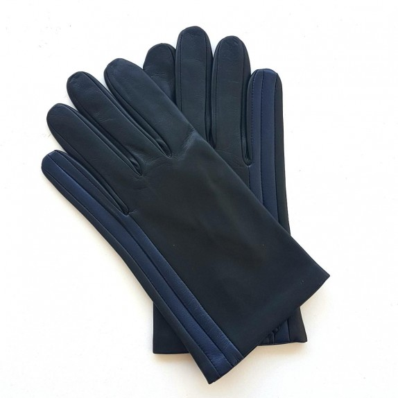 "Leather gloves of lamb charcoal blue berry black ""AKANO""."