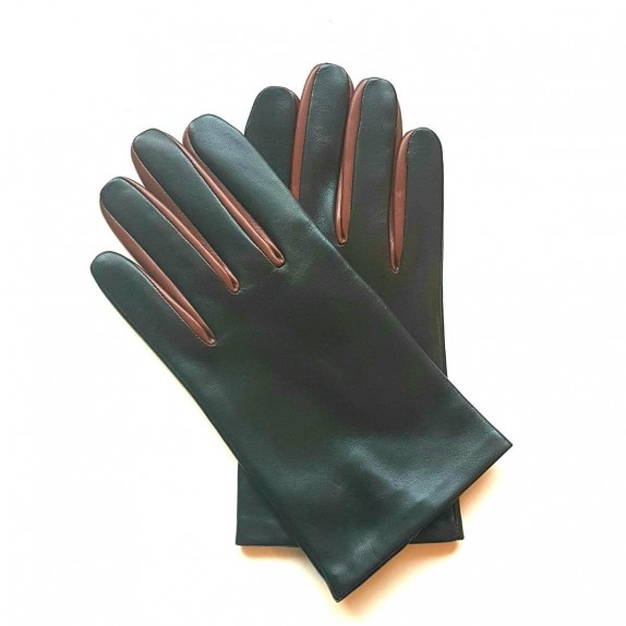 "Leather gloves of lamb black and english tan ""TWIN H"""