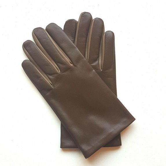 "Leather gloves of lamb tobacco and clay ""TWIN H"""