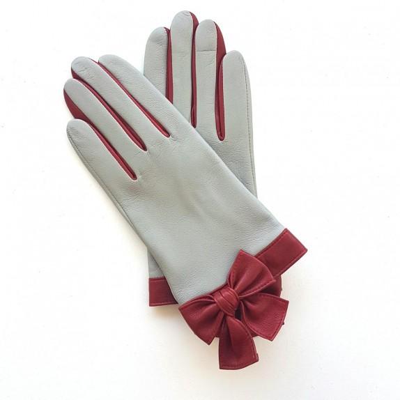 """Gants en cuir d'agneau gris perle et rouges """"CANDIE""""."""