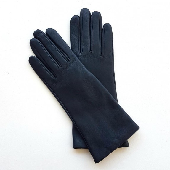 "Leather gloves of lamb navy ""COLINE"""