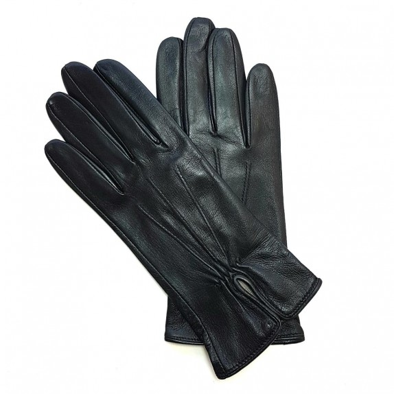 "Leather gloves of lamb black ""JULIE""."