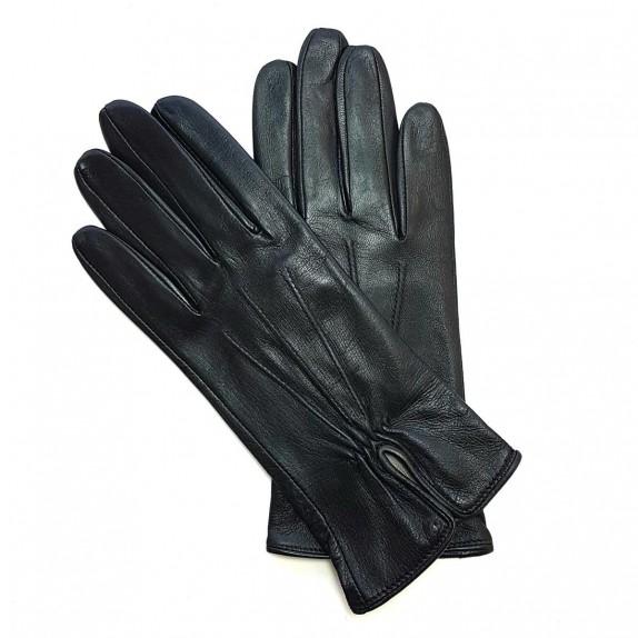 """Leather gloves of lamb black """"JULIE""""."""