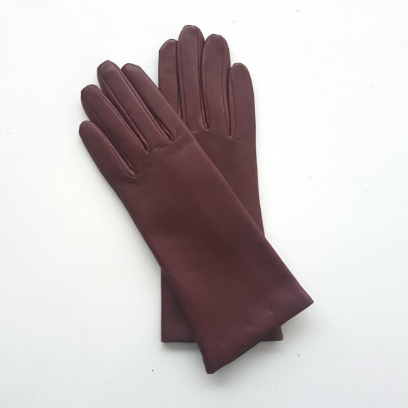 "Leather gloves of lamb burgundy ""COLINE""."