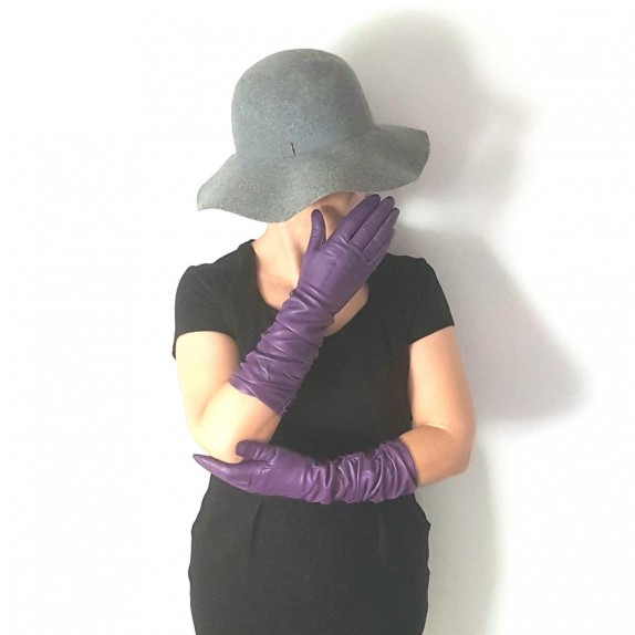 "Leather gloves of lamb amethyst ""ELISABETH""."
